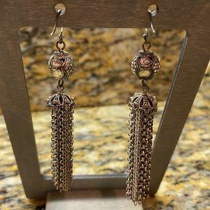 Lucky Brand antique silver fringe earrings